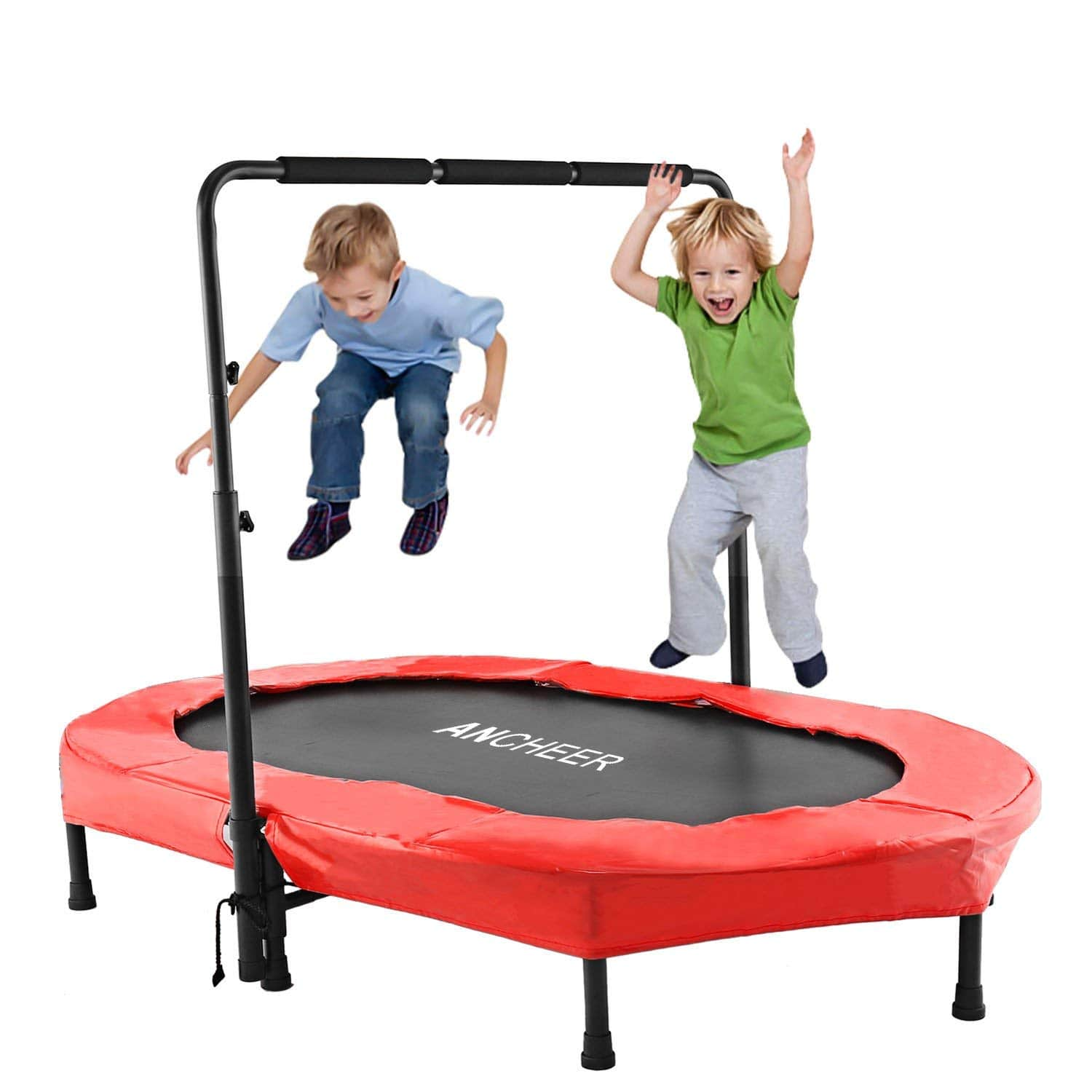 ANCHEER Mini Rebounder Trampoline with Adjustable Handle for Two Kids