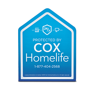 Cox HomeLife sign in the shape of a blue house