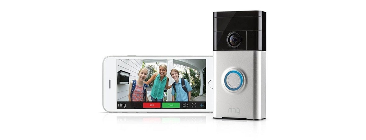 Ring doorbell camera and smartphone showing the video feed