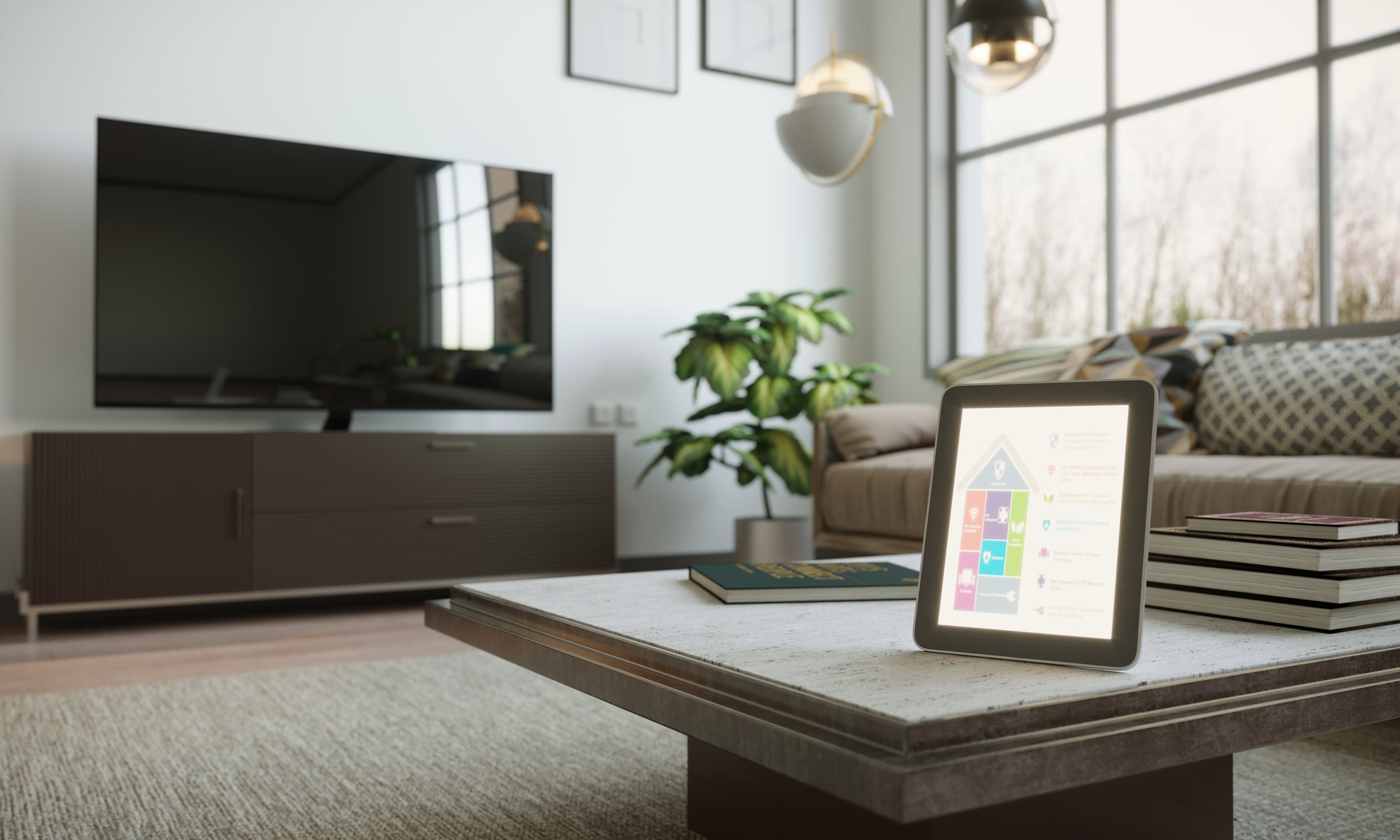Smart tablet sitting on table