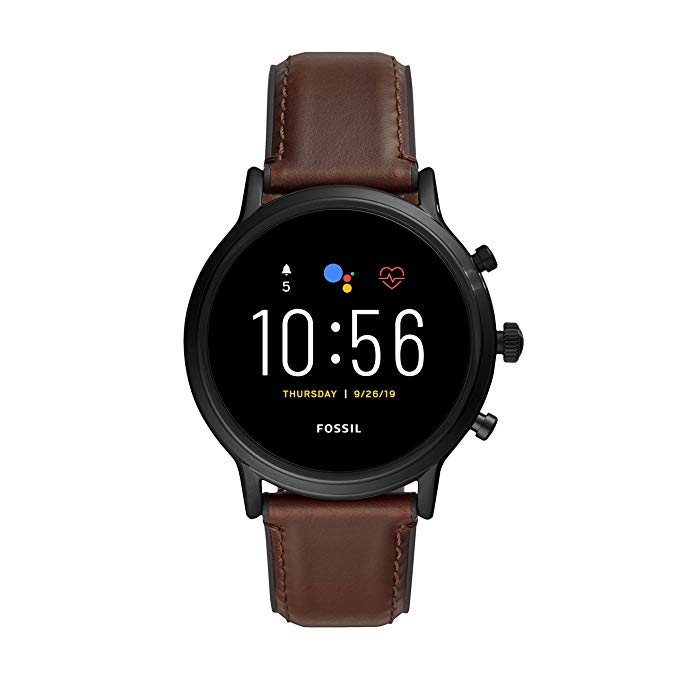 Fossil Gen 5 Carlyle HR Heart Rate Stainless Steel and Leather Touchscreen Smartwatch, Color_ Black, Brown (Model_ FTW4026)-min