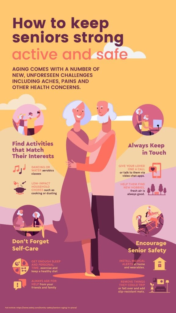 How to Keep Seniors Strong, Active, and Safe Infographic